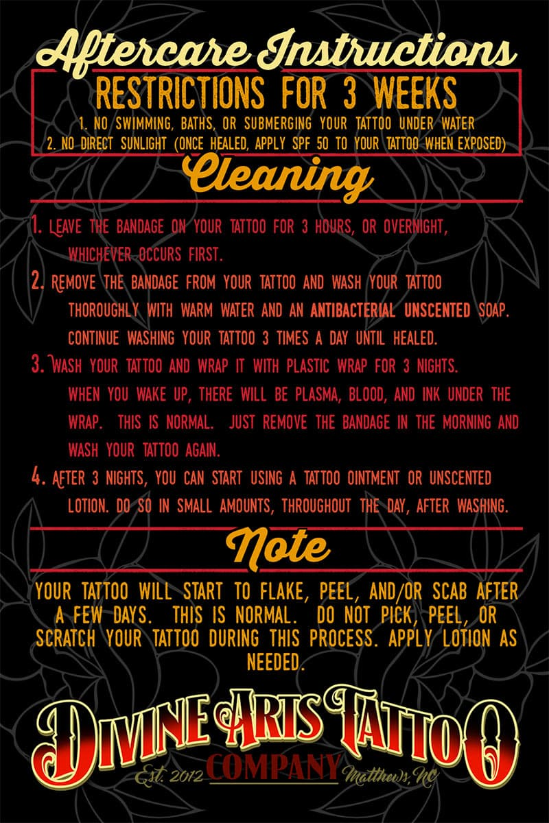 Aftercare Instructions Divine Arts Tattoo