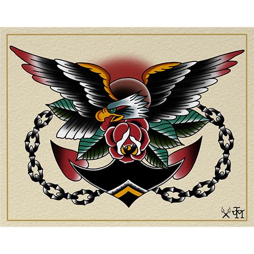eagle tattoo flash print